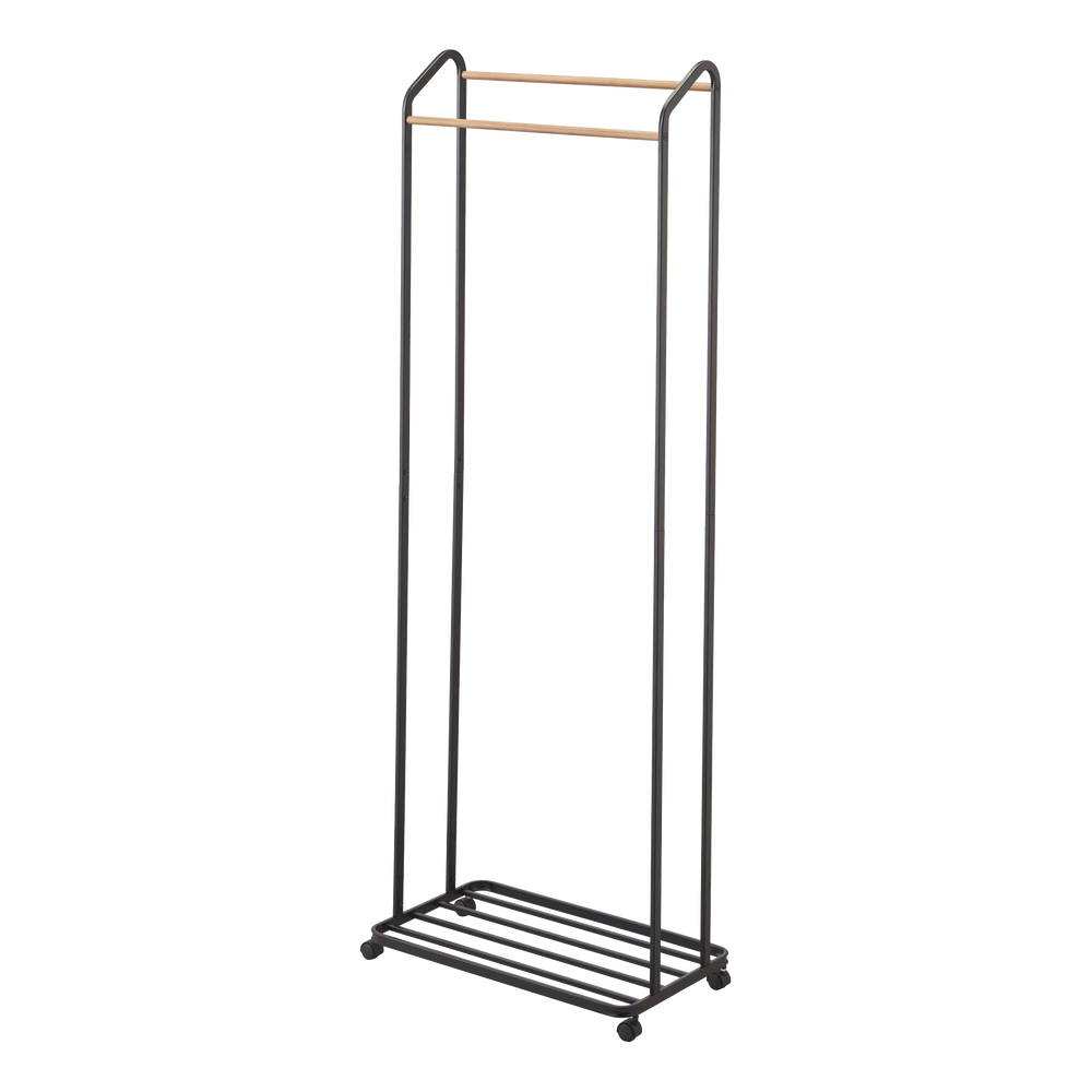 Yamazaki's black garment rack on casters with wooden accent rods
