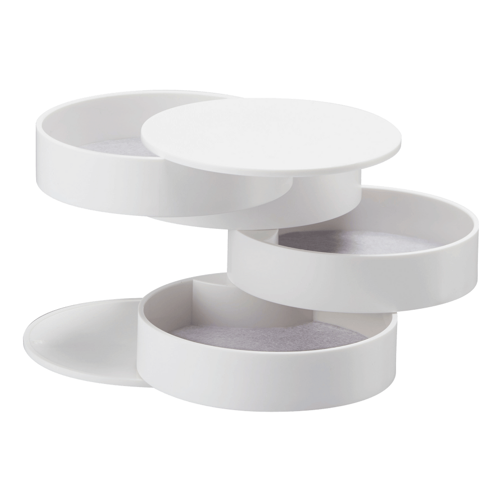 Product photo of Yamazaki's 4-Tiered Accessory Tray fully opened in white.