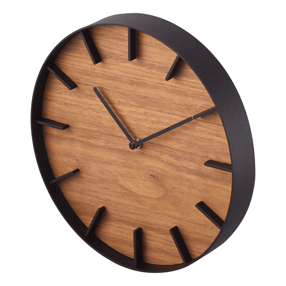 Angled side view of Yamazaki Wall Clock with brown wood face and black rim and accents