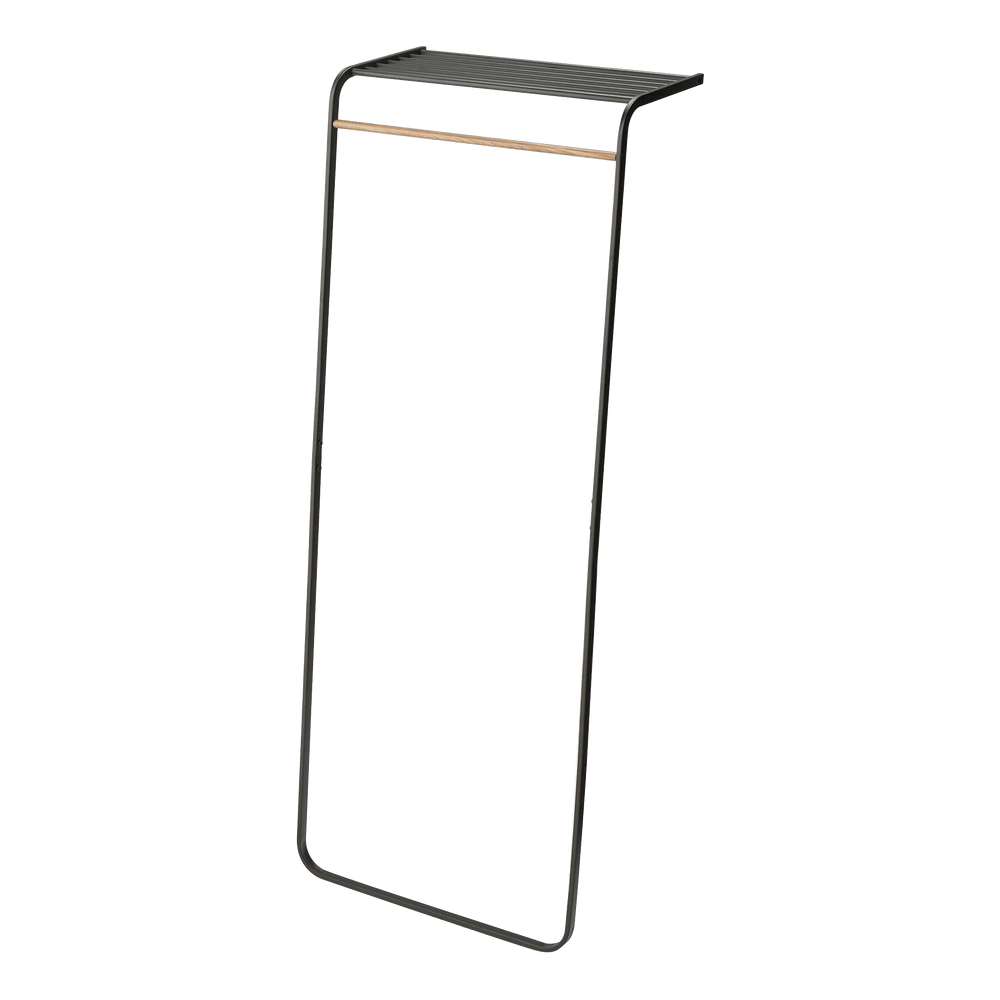 Yamazaki's black leaning coat rack with slatted top shelf
