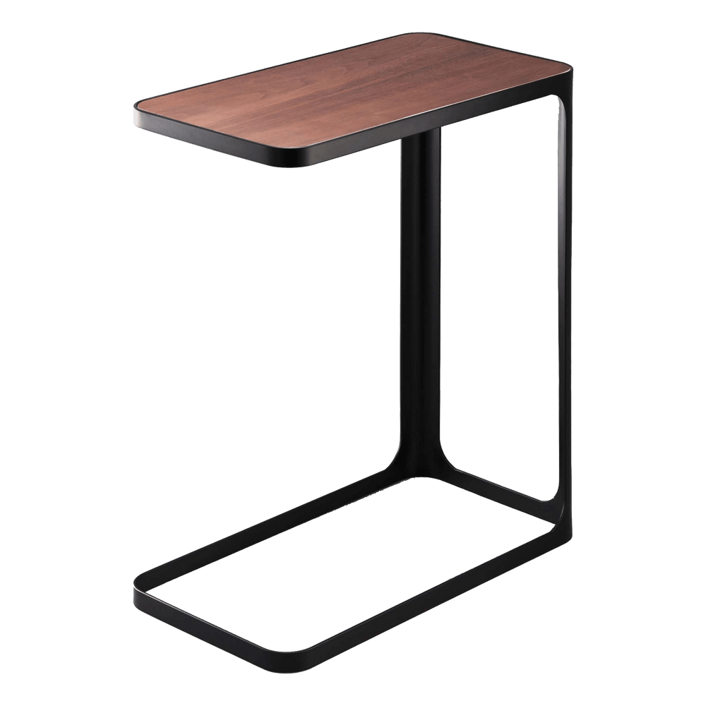Black accent table with wood top