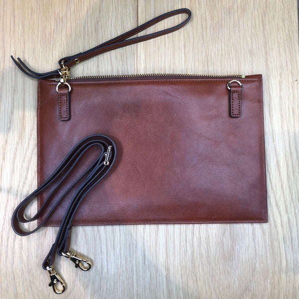 Ceremony (sac rectangle plat) marron collet (choco vintage)