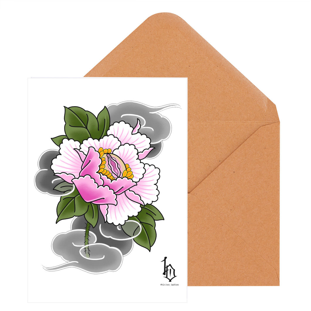 Japanese Woodblock Print Style Greeting Card - Vulva Flower
