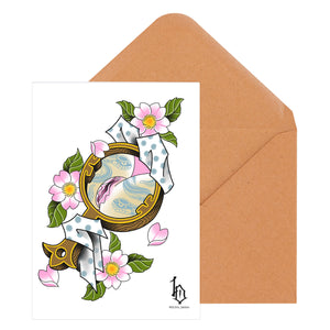 Japanese Woodblock Print Style Greeting Card - Vulva and Mirror