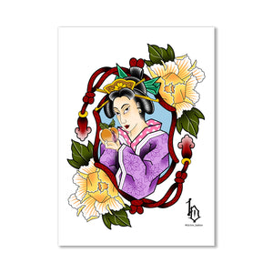 Japanese Woodblock Print Style Postcard - Geisha and Peach