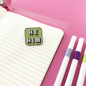 He/Him Enamel Pin