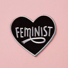 Load image into Gallery viewer, Feminist Heart Embroidered Iron On Patch