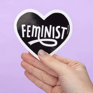 Feminist Heart Black Large Vinyl Sticker
