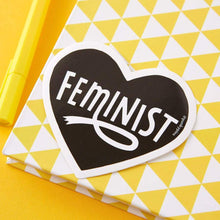 Load image into Gallery viewer, Feminist Heart Black Large Vinyl Sticker