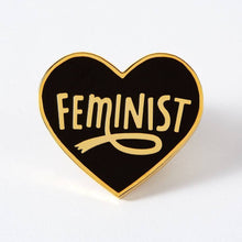 Load image into Gallery viewer, Feminist Heart Shaped Enamel Pin