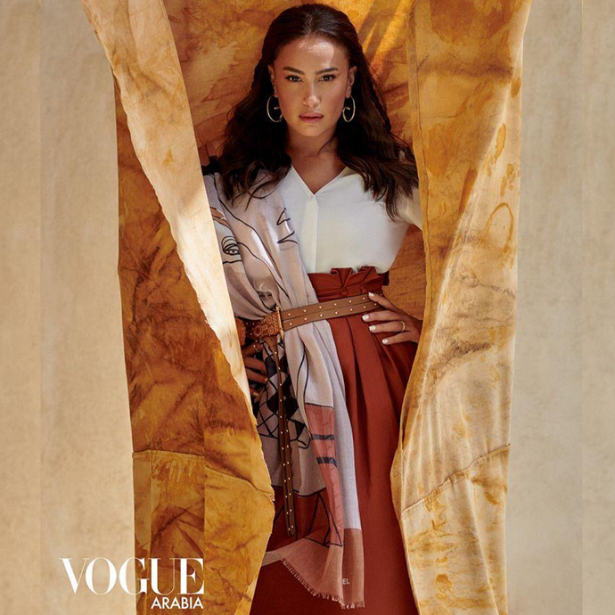 Hend Sabri wears Okhtein Studded Belt for Vogue