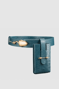 Snake Strich Belt Teal Crocodile Gold