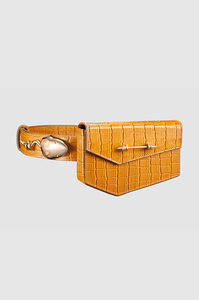 Snake Strich Belt Caramel Crocodile Gold