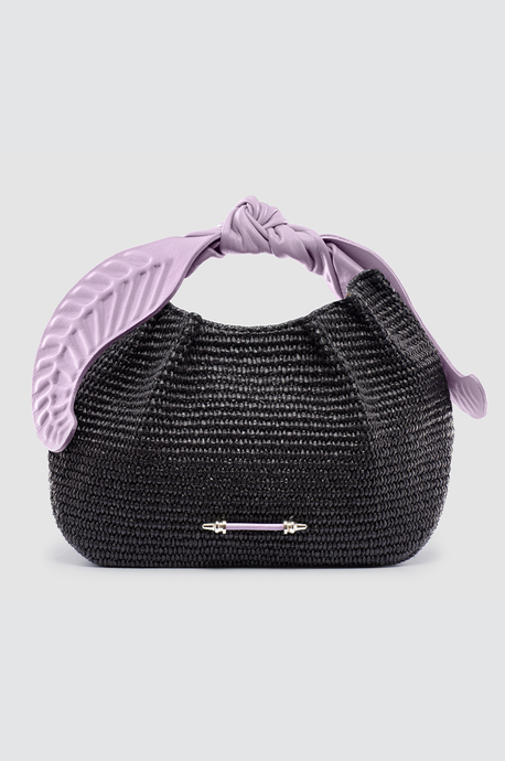 Palmette Leaf Bucket Black Raffia