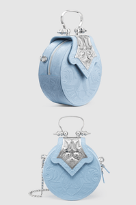 Mini Dome Embossed Sky Blue Silver