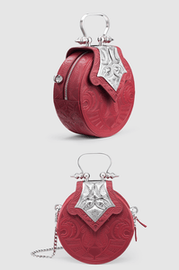 Mini Dome Embossed Burgundy Silver
