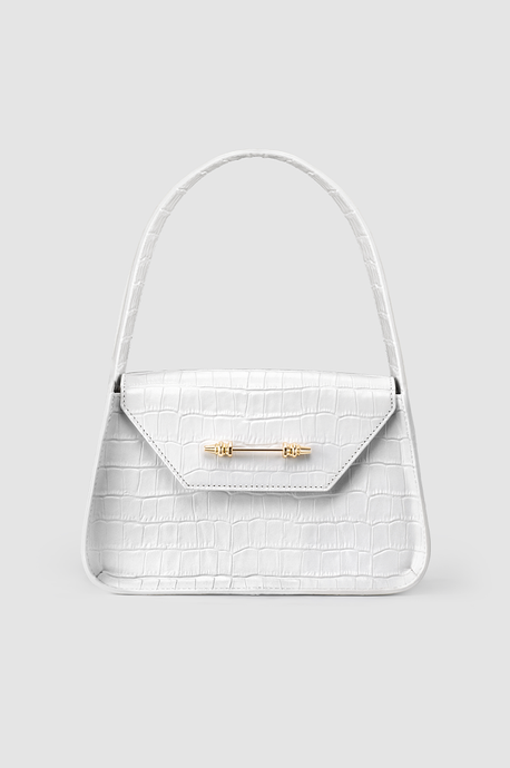 The Feryel Handbag White Crocodile