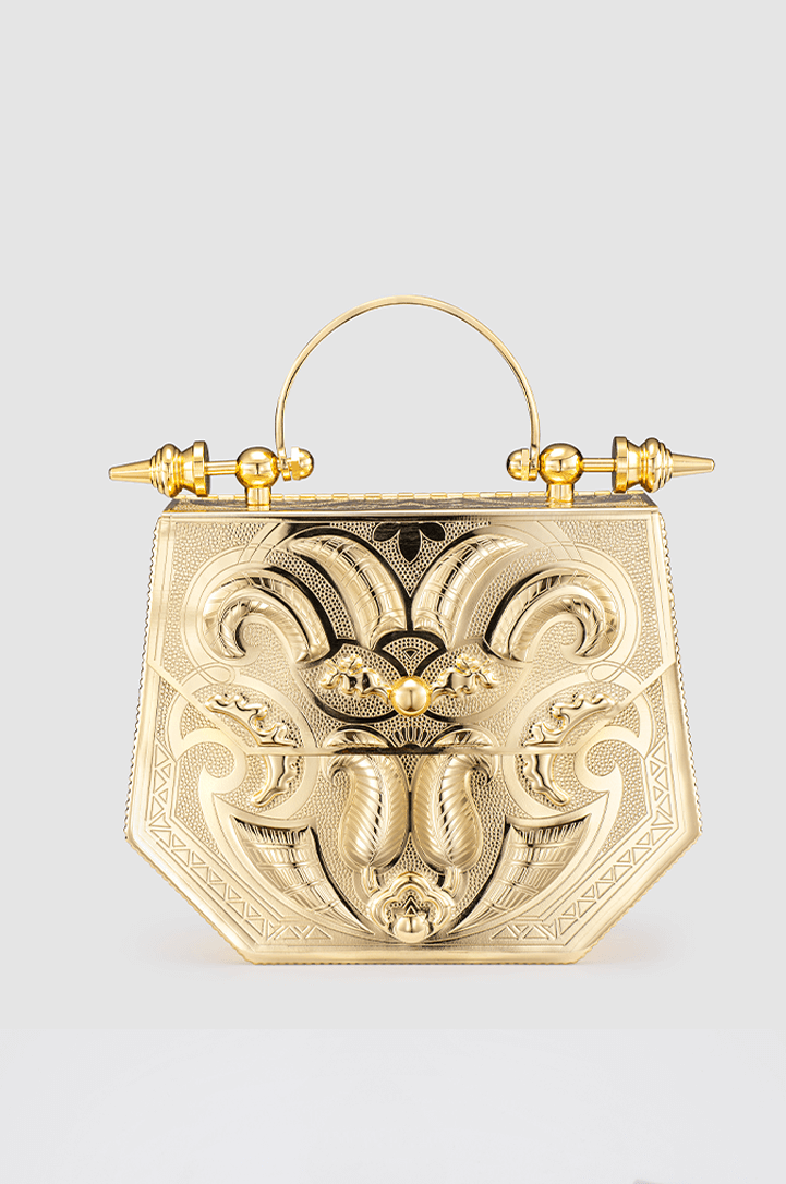 Palmette Hexagon Minaudière Gold Brass