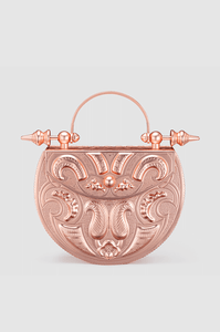 Palmette Oval Minaudière Rose Gold Brass