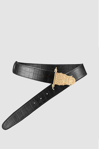 Roman Rod Belt Black Crocodile Gold