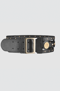 Palmette Studded Belt Black Gold