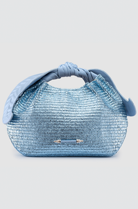 Palmette Leaf Bucket Metallic Blue Raffia