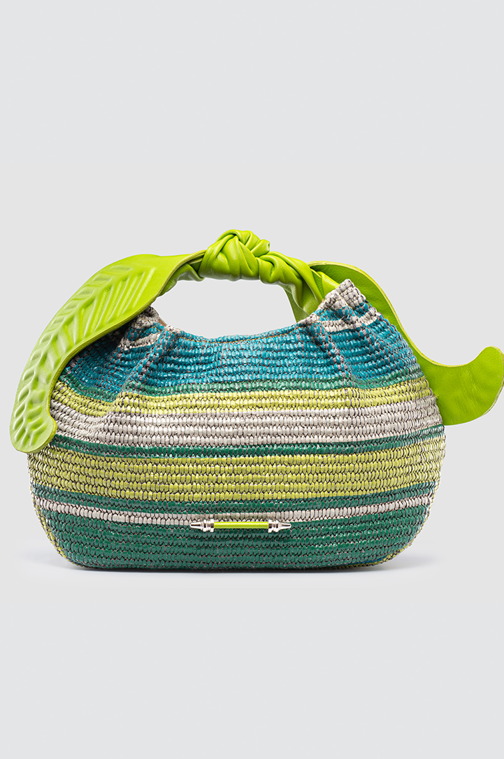 Palmette Leaf Bucket Striped Green Raffia