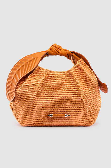 Palmette Leaf Bucket Orange Raffia
