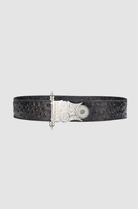 Roman Rod Belt Black Ostrich Silver