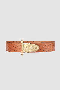 Roman Rod Belt Camel Ostrich Gold