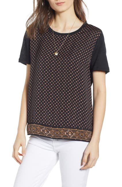 Maison Scotch - Mixed Print Tee - Black Paisley