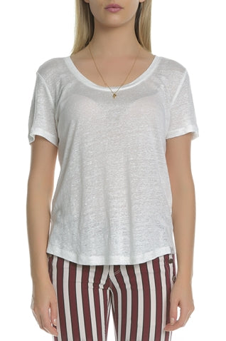 Maison Scotch - Linen Scoop Neck Tee - White