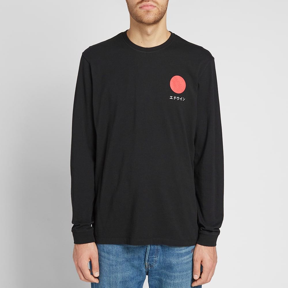 Edwin - Japanese Sun LS T-Shirt - Black Garment Wash