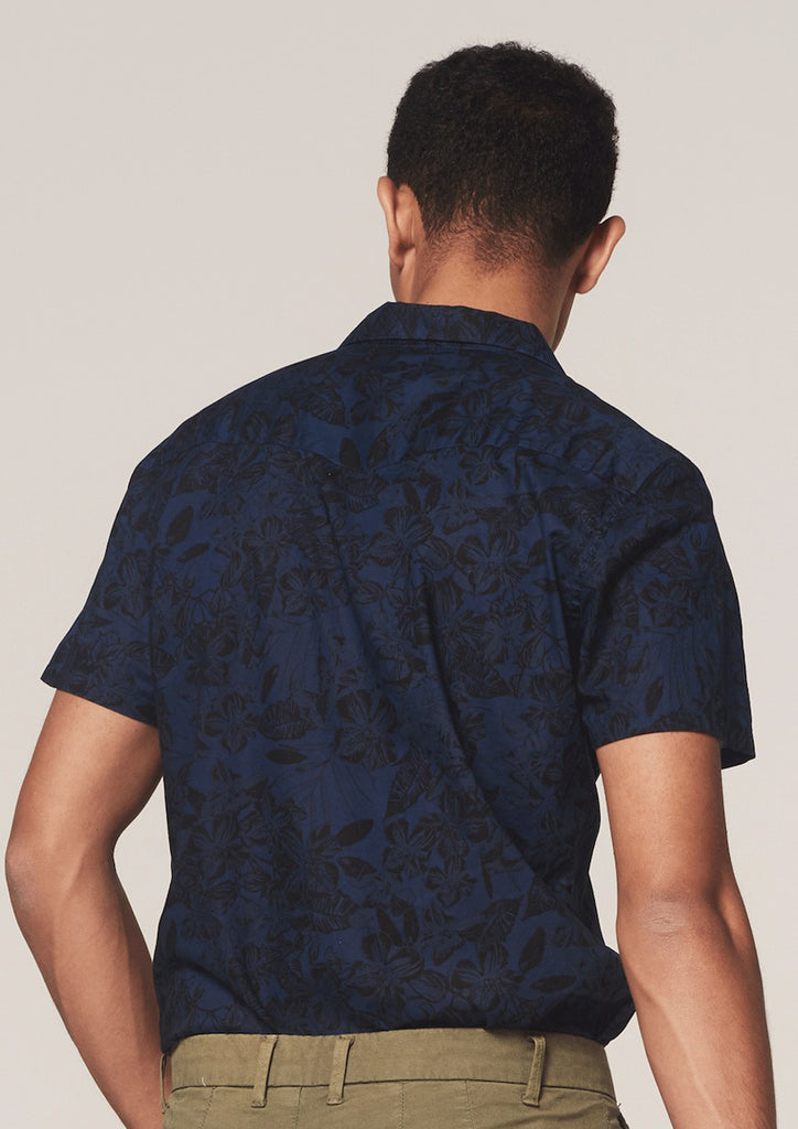 Dstrezzed - Camo Leaves SS Shirt - Navy