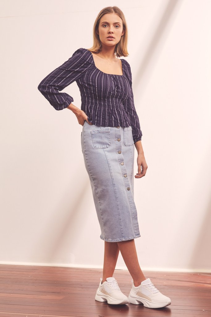 The Fifth Label - Coast Stripe Top - Navy with White
