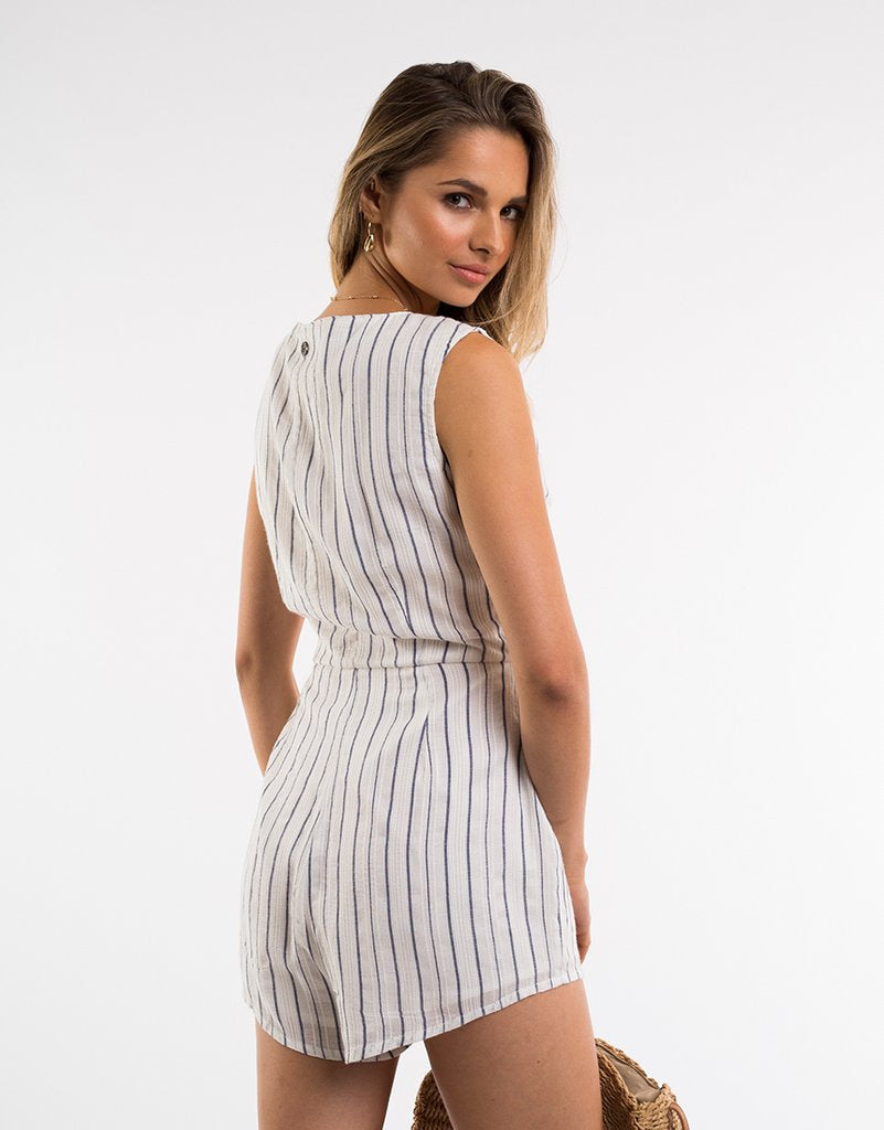 All About Eve - Mirror Stripe Playsuit - Navy/White