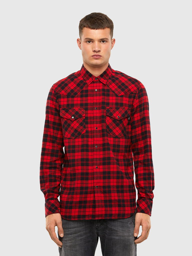 Diesel - S-East Long CHK Shirt - Black/Red