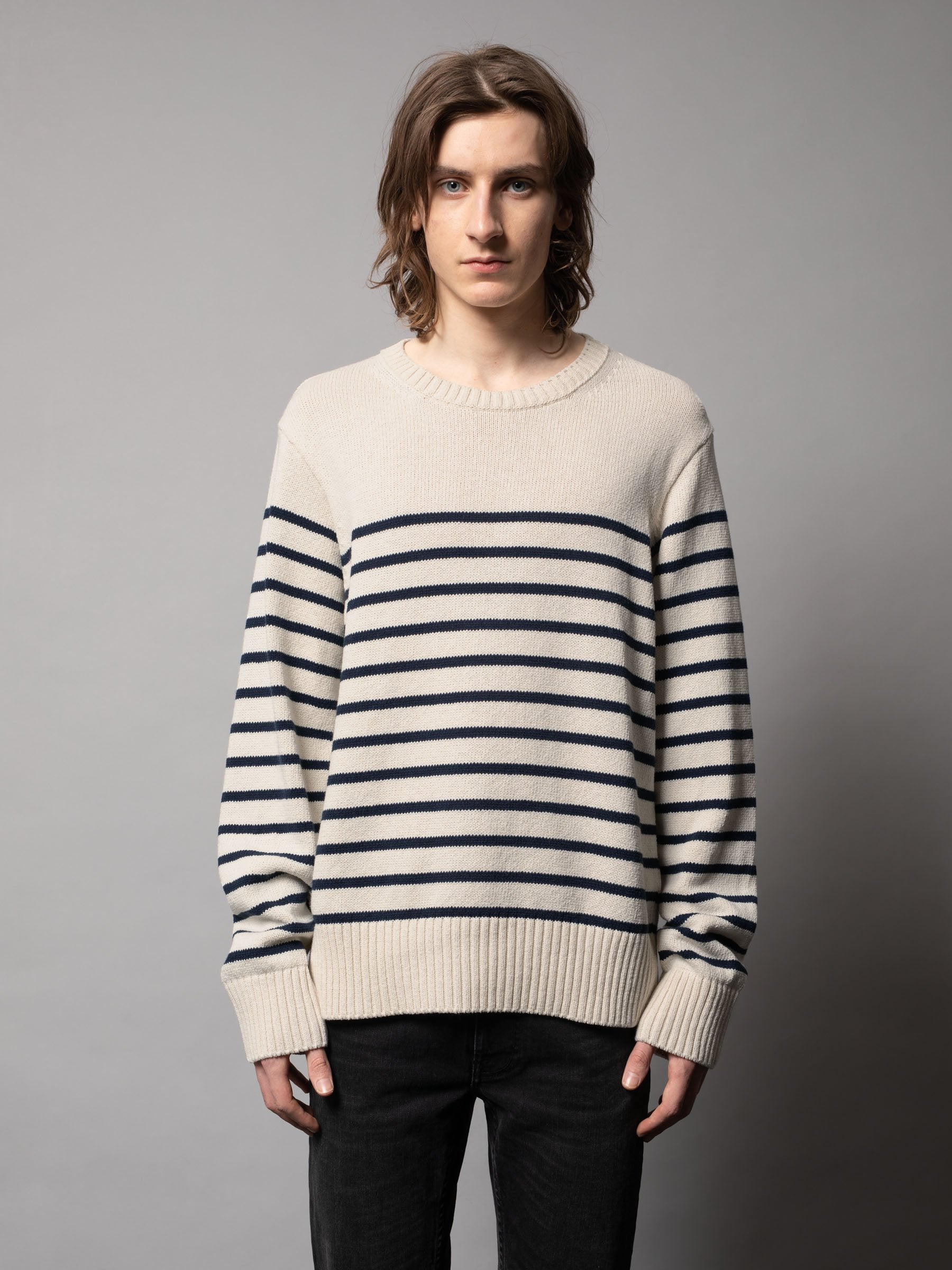 Nudie - Hampus Recycled Sweater - Offwhite/Navy Stripe