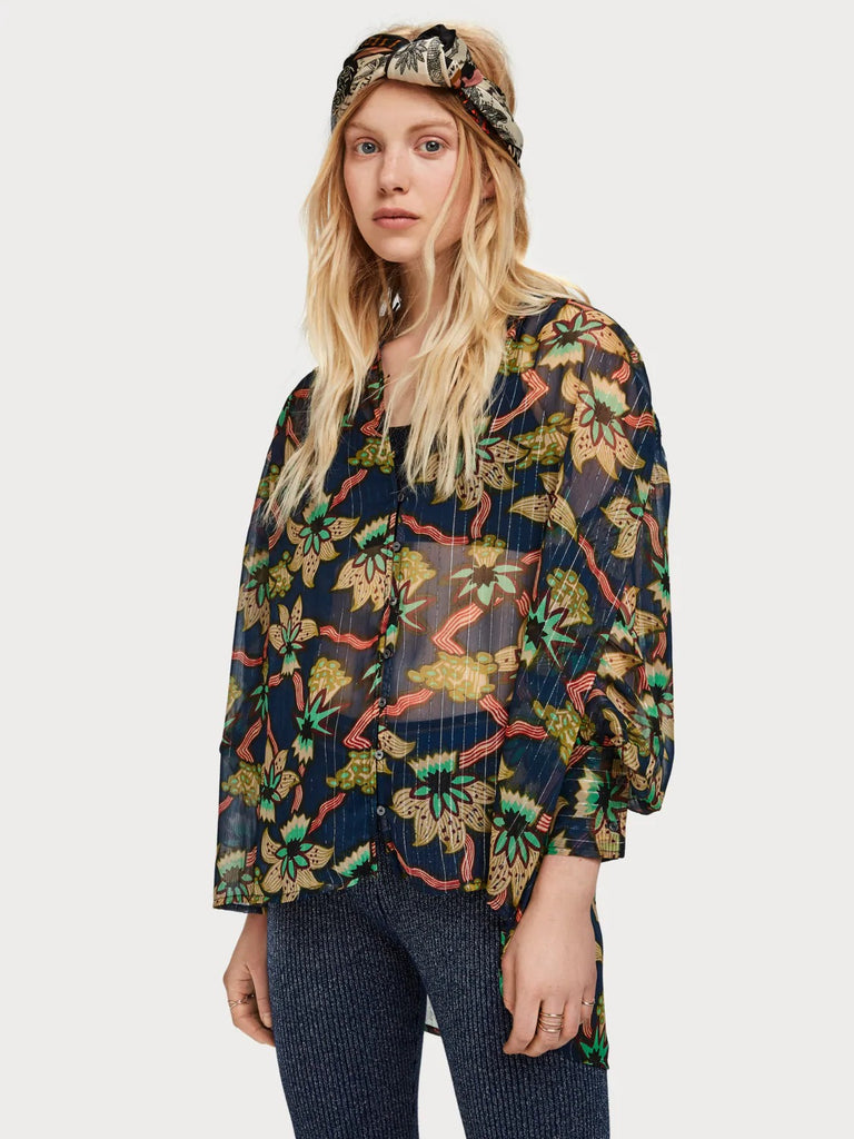 Maison Scotch - Relaxed Fit Floral Shirt - Night
