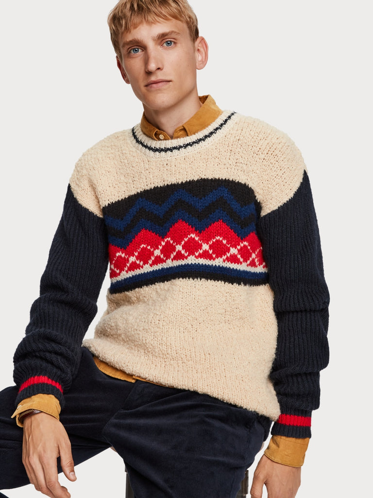 Scotch & Soda - Mixed Knit Pullover - Red / Blue / Cream