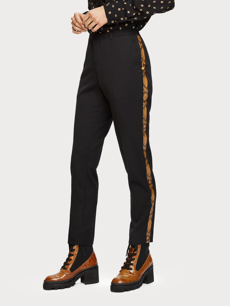 Maison Scotch - Tailored Pants with Snakeskin - Black