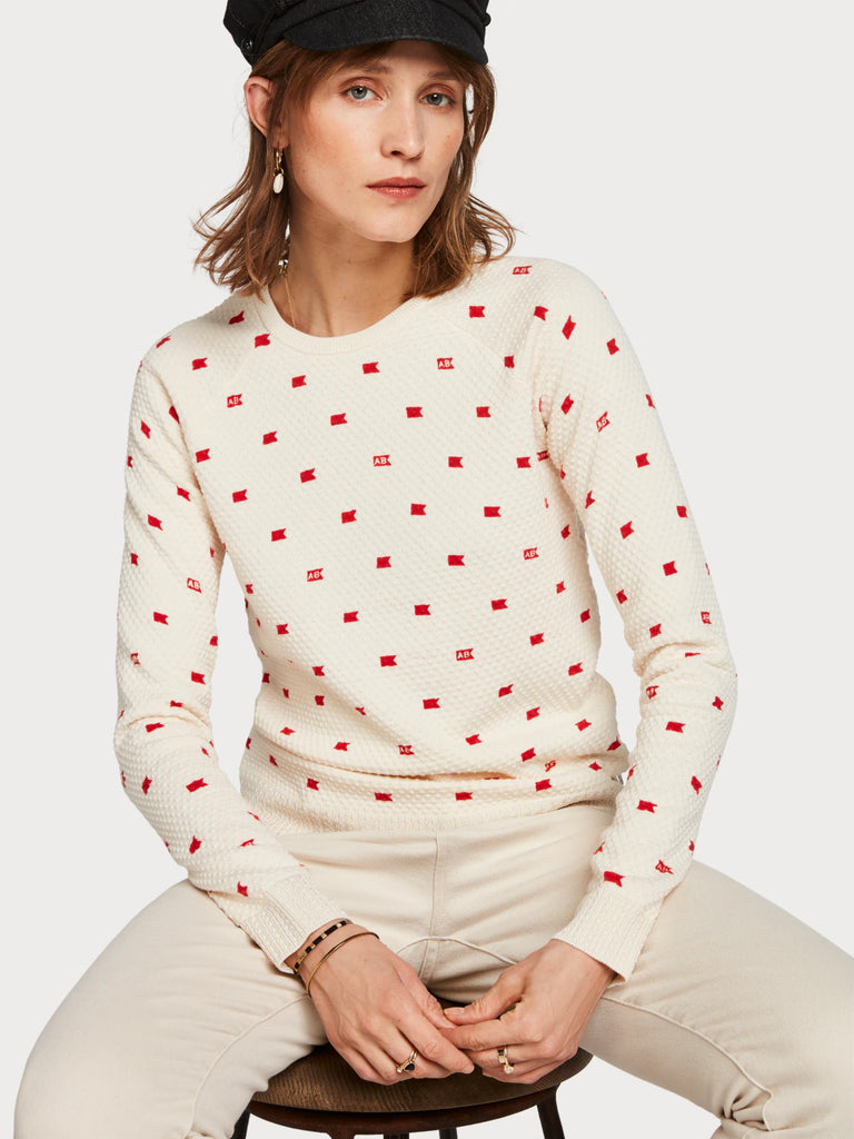 Maison Scotch - All Over Print Pullover - Cream/Red