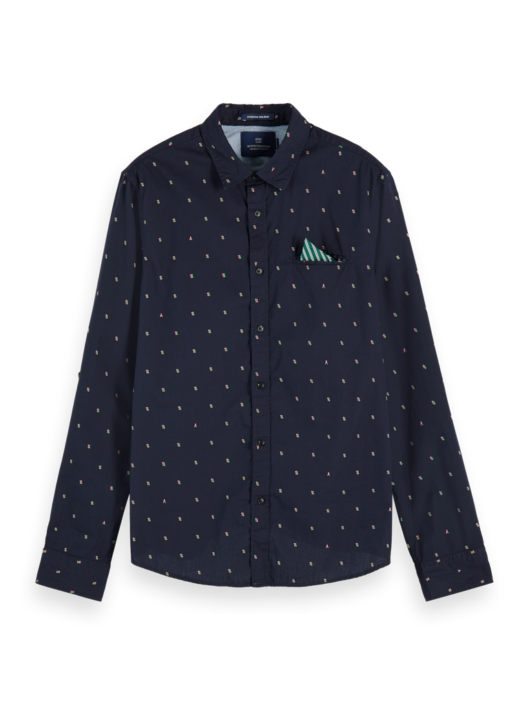 Scotch & Soda - Regular Fit Pochet Shirt - Navy