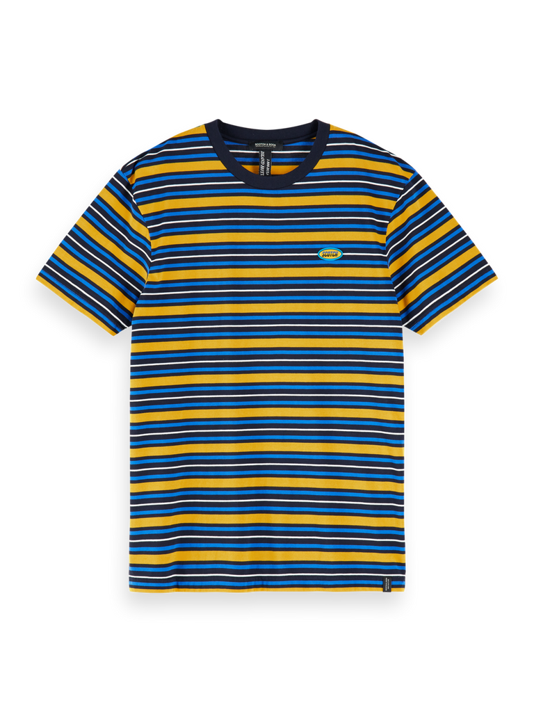 Scotch & Soda - Crewneck Tee w Badge - Blue/Yellow Stripe