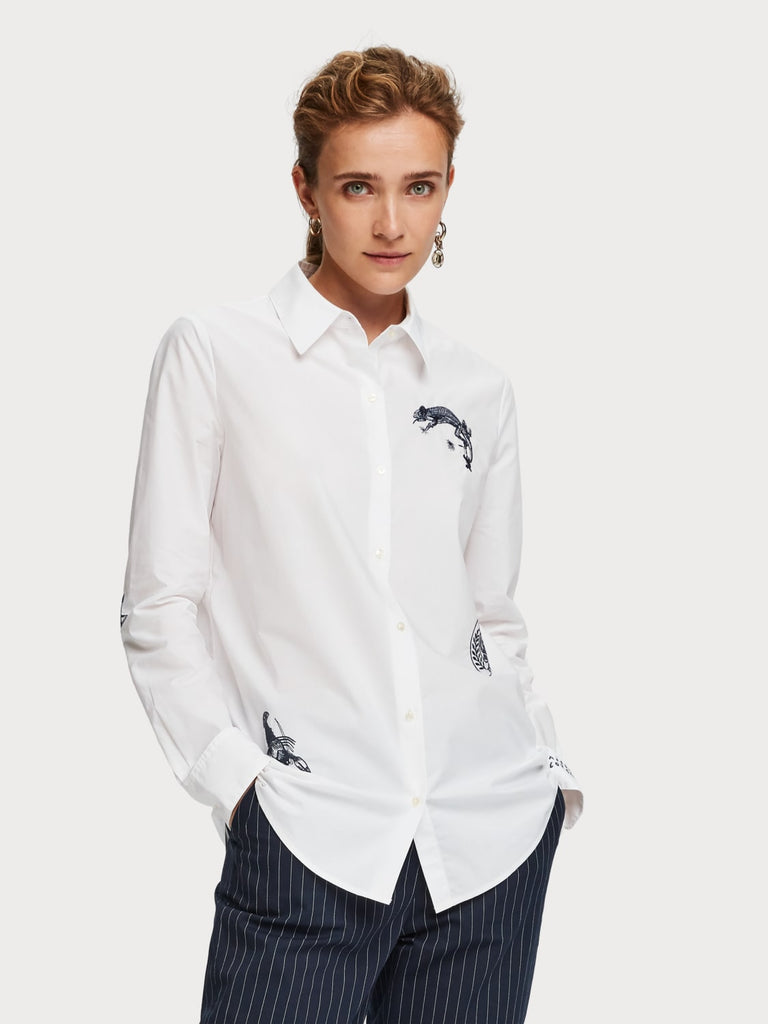 Maison Scotch - Relaxed Fit Cameleon Shirt - White