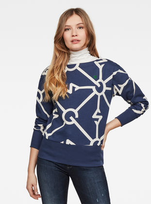 G-Star Raw - Xzyph Allover Sweater - Servant Blue/Milk Heather Allover
