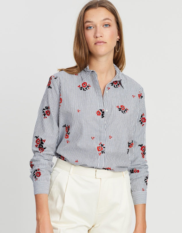 Maison Scotch - Button Up Shirt - Black / White with Flock Print