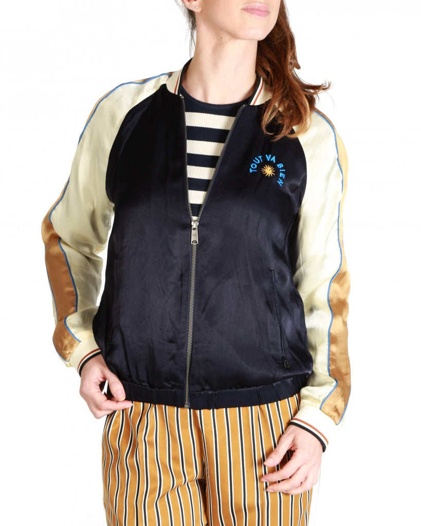 Maison Scotch - Colour Blocked Bomber Jacket - Navy / Gold