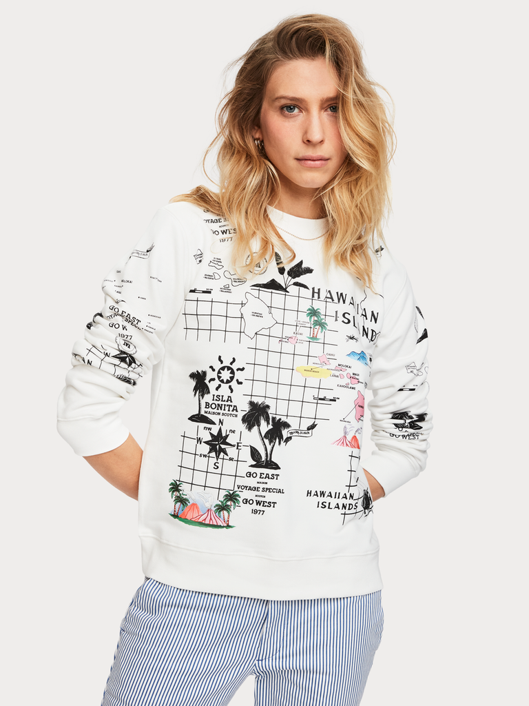 Maison Scotch - Printed Crew Neck Sweat - White