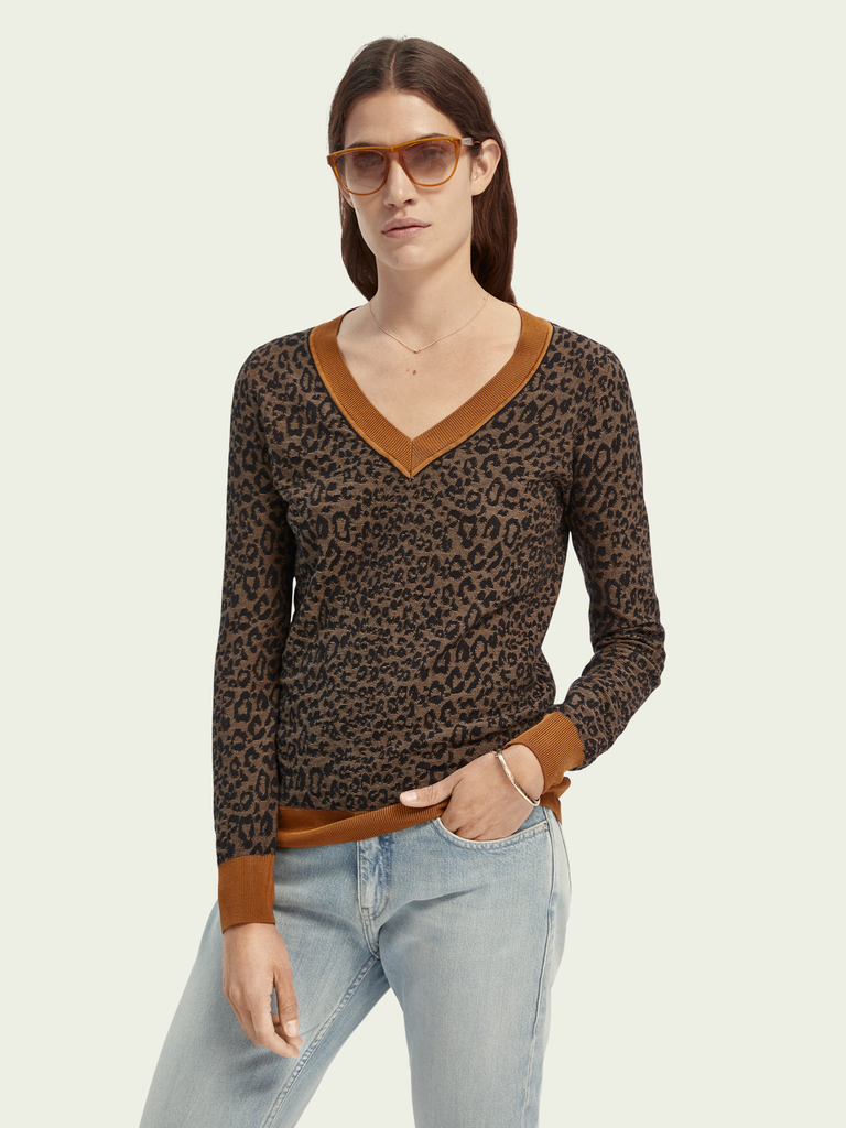 Maison Scotch - V-Neck Knit - Cheetah